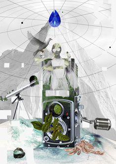collage digital  laberinto  piano
