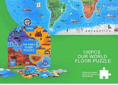 Our World Map Floor Puzzle – 100 Pieces World Map Puzzle, Steam Toys, Floor Puzzle, Steam Activities, Famous Landmarks, Our World, Wooden Diy, Teaching Kids
