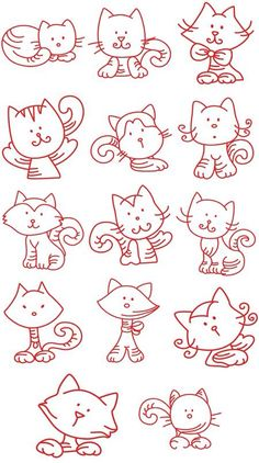 Grand Sewing Embroidery Designs At Home Ideas. Beauteous Finished Sewing Embroidery Designs At Home Ideas. Cross Stitch Embroidery, Hand Embroidery, Machine Embroidery, Splat Le Chat, Embroidery Designs, Doodles, Cat Quilt, Cat Crafts, Cat Pattern