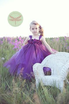 80 dollars Plum Hydrangea Tutu Flower Girl Dress