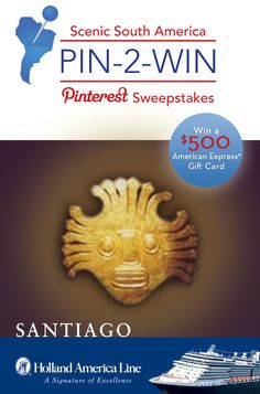 If Santiago is your South American highlight, enter the @Holland America Line Scenic South America #Sweepstakes for your chance to #win a 500.00 American Express gift card: https://www.facebook.com/HALCruises/app_363845683737502?ref=ts #Pin2Win #SouthAmerica