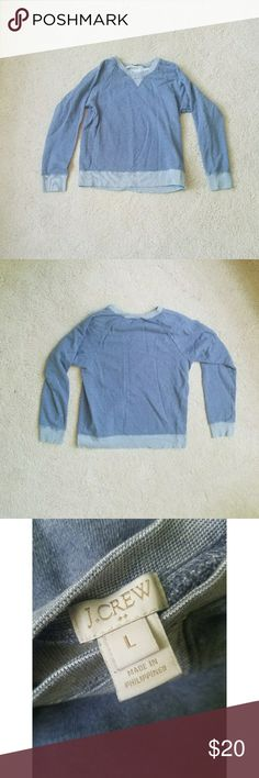 J. Crew Blue Crewneck Sweatshirt So cute and great with leggings (covers your butt)! EUC. Worn a handful of times. It is wrinkly in the pics, but that can easily be resolved.   REASONABLE OFFERS ONLY! J. Crew Tops Sweatshirts & Hoodies