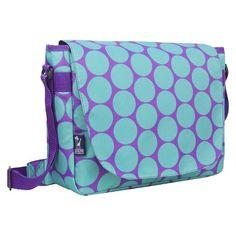 Wildkin Big Dots Aqua Laptop Messenger Backpack