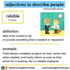 adjectives to describe people: reliable English Adjectives, English Idioms, English Phrases, Learn English Words, English Lessons, English Grammar, Vocabulary Practice, Grammar And Vocabulary, Vocabulary Cards