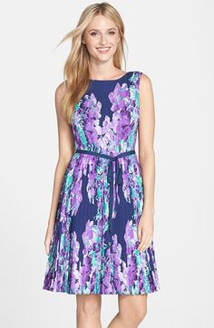 Adrianna Papell Floral Print Pleat Fit & Flare Dress (Regular & Petite) available at #Nordstrom