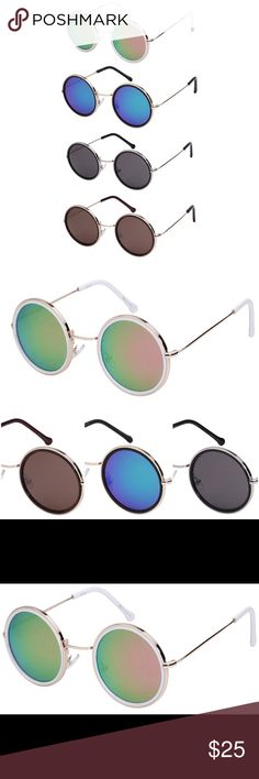 ✨NEW ARRIVAL✨Round Rim Sunglasses Adorable wire rimmed retro inspired sunglasses. Just in time for festival season, these lovelies will complete that boho look. Four fun colors to choose from! Color options are listed as shown in first photo, from top to bottom. Accessories Sunglasses