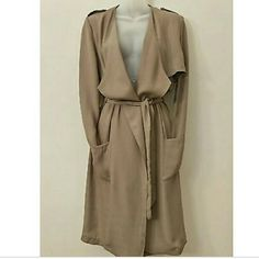 Trench Duster Coat Duster Trench Coat Size: Large Color: Taupe  Coat Length: 39 inches Shoulder to shoulder: 17 inches Weight: Light-weight Sleeves: long-sleeves  -2 pockets in front -Removable waist belt   Brand new Pronto Jackets & Coats Trench Coats