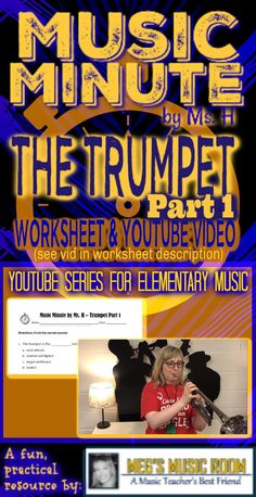 """My students love learning from videos! I started the Music Minute Series to help kids around the world learn about music concepts. This quick and easy worksheet goes with my """"Trumpet Part 1 - MUSIC MINUTE"""" vid. Music Classroom, Music Teachers, Trumpet Parts, Student Learning Objectives, Music Education Activities, Elementary Music, Upper Elementary, Smart Board Lessons, Kids Around The World"""