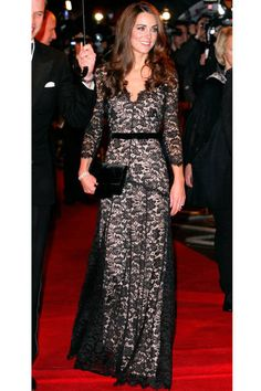 January 8, 2012  At the U.K. premiere of War Horse in London, the Duchess shows off her figure in a black lace Temperley London gown.