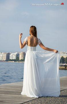 Wedding Dress Grecian Wedding Gown Long Bridal by SuzannaMDesigns