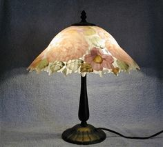 Table Lamp  Reverse Painted Floral Motif by SandECollectibles