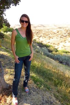 Green sparkle top & jeans in the Boise Foothills