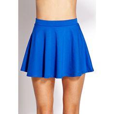 FOREVER 21 Must-Have Skater Skirt (€5,76) ❤ liked on Polyvore featuring skirts, flared skirts, elastic waistband skirt, elastic waist skirt, skater skirts and blue skater skirt
