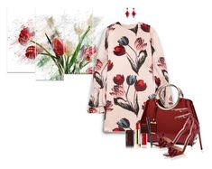 """Tulips"" by loveroses123 ❤ liked on Polyvore featuring Design Art, Mother of Pearl, Valentino, Oscar de la Renta, Kevyn Aucoin, tulips and burgundybag"