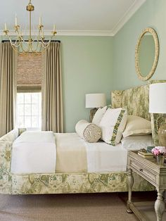 This charming and serene seaside dwelling was designed by Urban Grace Interiors, located in the coastal town of Santa Rosa Beach, Florida. Forest Green Bedrooms, Olive Green Bedrooms, Green Bedroom Walls, Green Master Bedroom, Sage Green Walls, Green Rooms, Home Bedroom, Bedroom Decor, Bedroom Ideas