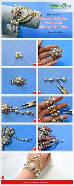 How to Make Handmade Pink Flower Pearl Bracelet with Drop Glass Beads from LC.Pandahall.com