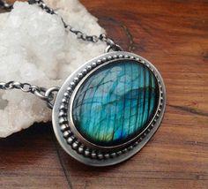 Handmade Silver Labradorite Pendant Necklace by EONDesignJewelry