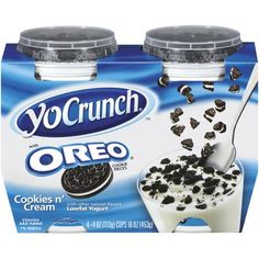 Breyers YoCrunch Oreo Cookies N' Cream Lowfat Yogurt, 4 oz, 4 count Junk Food Snacks, Keto Snacks, Snack Recipes, Bolo Hello Kitty, Oreo Flavors, Low Fat Yogurt, Weird Food, Oreo Cookies, Aesthetic Food