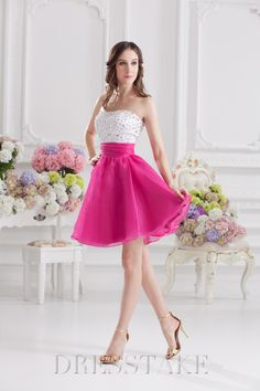 Elegant A-line Short / Mini Strapless Zip-up Organza Hot Pink Prom Dresses, US$84.99