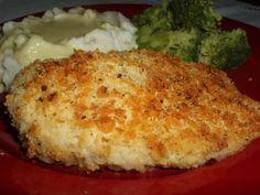 Ritz cracker chicken: •4 boneless skinless breasts •melted butter •ritz crackers •salt •pepper •ziplock bag  DIRECTIONS: preheat oven @ 350 °. crush ½ a sleeve do ritz crackers. Dip chicken into melted butter then coat in a ziplock bag with crackers. Place chicken in baking dish. Add salt & pepper to taste. Bake at 350 ° for 40 minutes.