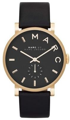 Women's Marc Jacobs 'Baker' Leather Strap Watch 37Mm #watches #womens