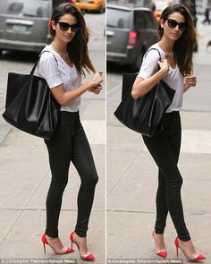Love the shoes!  Lily Aldridge - jeans and heels