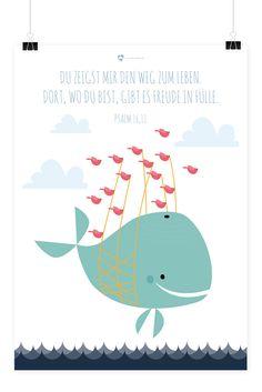 Christliches Kinder Poster mit Illustration Wal von Himmel im Herzen