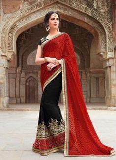 Black Red Thread Rehsam Work Lace Border Georgette Party Wear Designer Sarees http://www.angelnx.com/Sarees/Designer-Sarees
