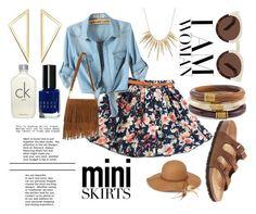 """Mini Me Mini Skirts"" by amber-lanehart ❤ liked on Polyvore featuring Birkenstock, Chico's, Alexis Bittar, Steve Madden, Bobbi Brown Cosmetics, Calvin Klein, Illesteva and miniskirts"