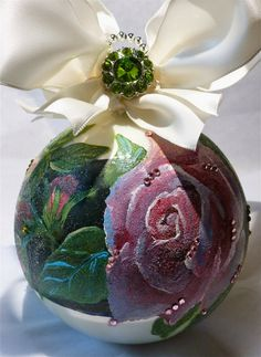 Hand Painted Rose Glass Ornament by KARCREATIONS on Etsy, $40.00