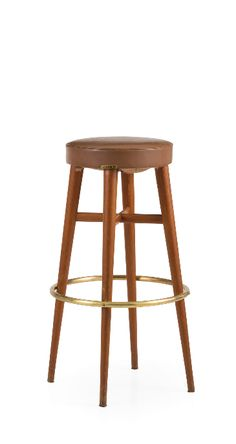 Gio Ponti; Wood, Brass and Vinyl Barstool for ISA, 1950s.