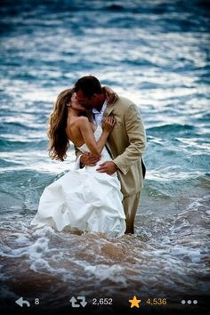 When you love someone so much, you don't care about getting your wedding dress wet.