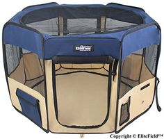 EliteField 2Door Soft Pet Playpen Exercise Pen Multiple Sizes and Colors Available for Dogs Cats and Other Pets 62 x 62 x 30H Navy BlueBeige ** You can get additional details at the image link.(This is an Amazon affiliate link)