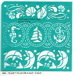 "Stencil ""SeaWorld Borders"" 6 inch/15 cm, self-adhesive, flexible, perfect for your polymer clay, fabric, wood, glass, card making projects"