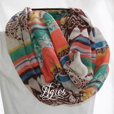 Aztec Stripe and Paisley Brown Green Peach Blue Infinity by elgies