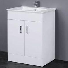 Minimalist White Gloss Vanity Unit with Ceramic Basin Sink - Bathroom Storage - Cloakroom Cabinet Furniture Cheap Bathroom Suites, Vanity Units, Vanity, New Bathroom Ideas, Minimalist Vanity, Sink Cabinet, Bathroom Units, Rectangular Sink, Bathroom Sink Storage