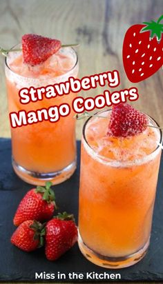 Strawberry Mango Coolers are a refreshing summer drink that both kids and adults will love. Easy punch for summer holidays an cookouts! Party Drinks, Cocktail Drinks, Fun Drinks, Yummy Drinks, Healthy Drinks, Cocktail Recipes, Mango Cocktail, Summer Beverages, Summer Snacks