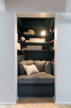 Victor Hugo - GCG ARCHITECTS - Reading Nook with matching office nook on other side of the hallway Home Library Design, House Design, Reading Nook Closet, Reading Nooks, Closet Nook, Closet Office, Book Nooks, Interior Design Boards, Home Libraries