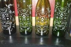 Hand Etched Day of the Dead/ Sugar Skull Wine Bottle Lamp - Lamp ...