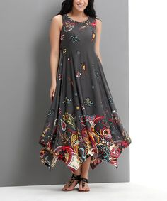 This Charcoal Paisley Scoop Neck Handkerchief Dress - Plus by Reborn Collection is perfect! #zulilyfinds