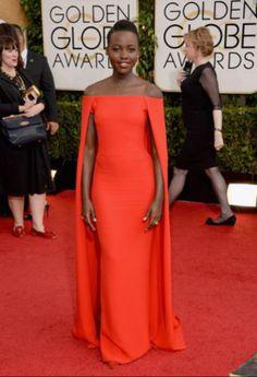 Las mejor vestidas de los Golden Globes 2014 - Belelú. LUPITA NYONG'O.  Hermoso vestido rojo de la actriz de 12 years a slave, que tiene algunos detalles muy interesantes que no llegan al exceso.