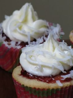 White Chocolate Raspberry Cupcakes with Coconut