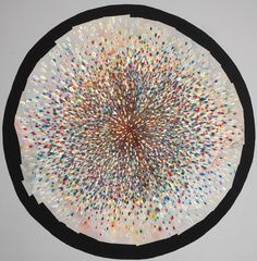Mindy Shapero, The sounds and visions contracting and expanding at once, attack and release (all colors circle) (this one knows more and has more control), 2012, Spray paint, acrylic varnish, gold and silver leaf, 245 x 245 cm