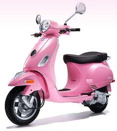 Channel your inner Barbie riding around on Vespas new hot pink scooter.I love Vespas. Vespa Motorcycle, Moto Scooter, Vespa Scooters, Apex Scooters, Mobility Scooters, Scooter Girl, Motorcycle Quotes, Pink Moped, Pink Vespa