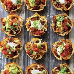 "These tiny, tasty taco cups are nacho ordinary snack! The perfect ""game day"" finger food or Taco Tuesday dinner, these cute cups look fancy, but are actually quite easy to make. One bite and you'll be wonton some more!"