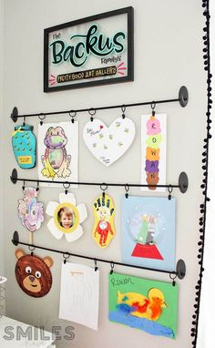Easy DIY Kids Art Display: Simple, Inexpensive, & No Damage! Easy DIY Kids Art Display: Simple, cheap and no damage! Displaying Kids Artwork, Artwork Display, Art Wall Kids Display, Hang Kids Artwork, Childrens Art Display, Display Ideas, Art Wall For Kids, Preschool Art Display, Hanging Kids Art