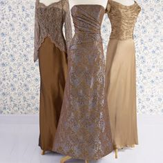 Brides: Mamma Mia!. Formal p.m. partying calls for high-glam gowns. All the more reason for Mom to show a little bronzed ambition in a shimmery style.