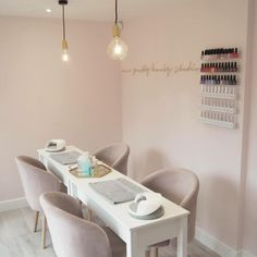 Nail salon design, Nail salon decor, Home nail salon