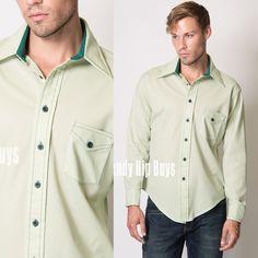 Men's Vintage Men's 70s shirt Men's shirt Men's Green shirt Mint Green Shirt Men's top - L