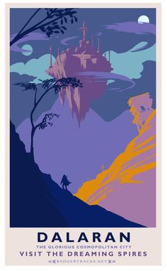 Dalaran Classic Rail Poster Art Print - WoW city posters by Josh Atack